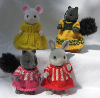 Knitting patterns by Woolly Woodlanders for Sylvanian Creatures