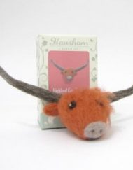 Hawthorn Handmade Hghland Cow Needle Felting Brooch