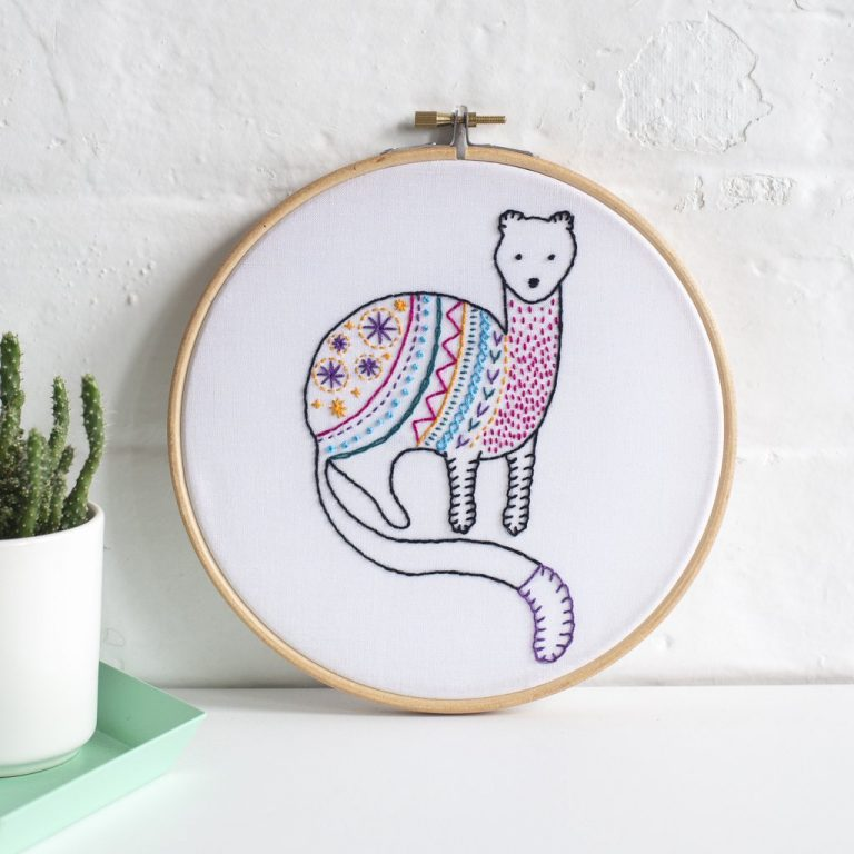 Hawthorn Handmade Contemporary Embroidery Kit - Stoat