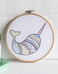 Hawthorn Handmade Contemporary Embroidery Kit - Narwhal