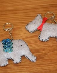 Whip Stitch Dog & Elephant Keyrings