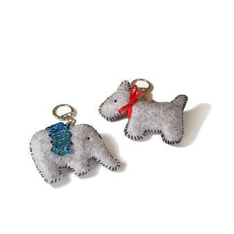Felt Dog & Key Ring