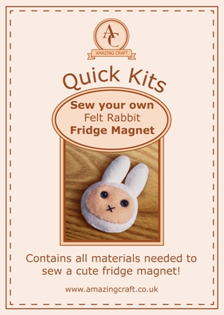 Amazing Craft Quick Kit Felt Rabbit Fridge Magnet