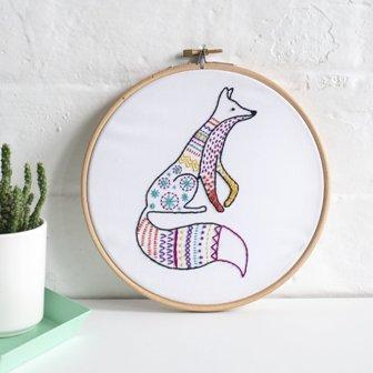 Hawthorn Handmade Contemporary Embroidery Kit Fox