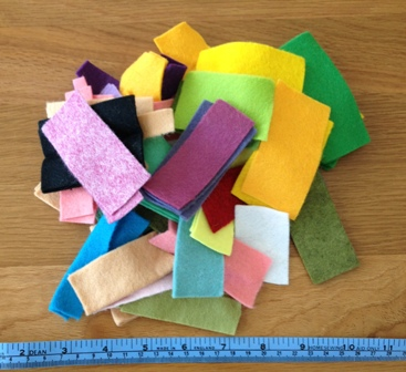Felt off cuts & tape measure