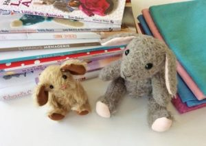 Crafting books & mohair mouse & rabbit