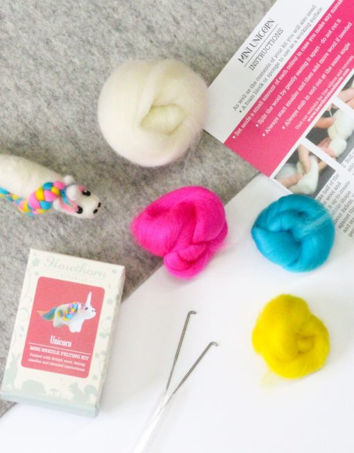 Hawthorn Handmade Unicorn Mini Needle Felting Kit contents