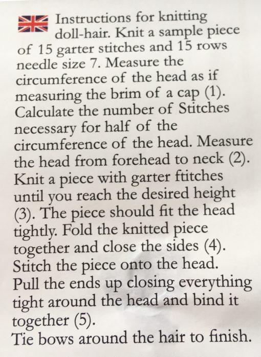 De Witte Engel typed doll wig instructions