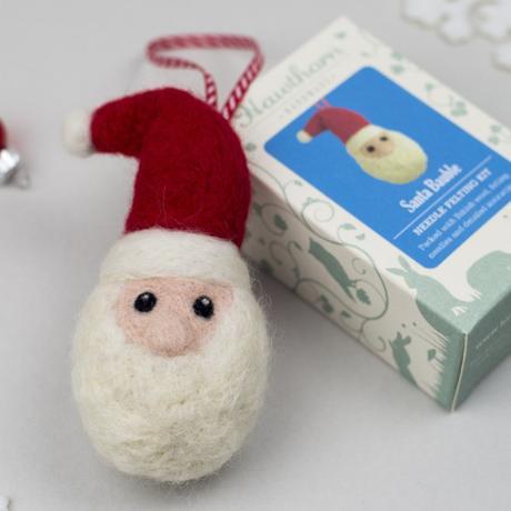 Hawthorn Handmade Needle Felted Santa Bauble and box