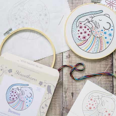 Hawthorn Handmade Dormouse Embroidery Kit Contents