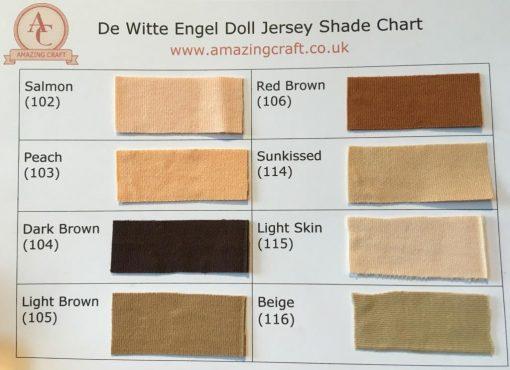 De Witte Engel Doll Jersey Shade Chart
