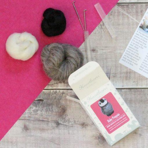 Hawthorn Handmade Baby Penguin Needle Felting Kit Contents