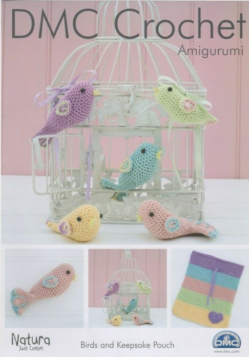 DMC Crochet Amigurumi Birds and keepsake pouch