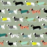 Sewing Sanctuary Cotton Fabric - Dachshunds Green