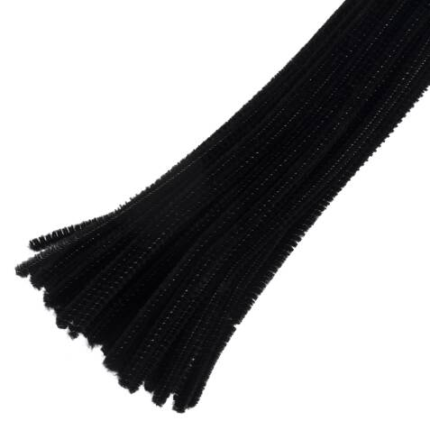 30cm chenille pipe cleaners black